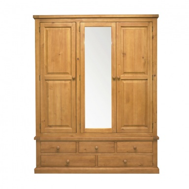 Country pine large mirror triple robe