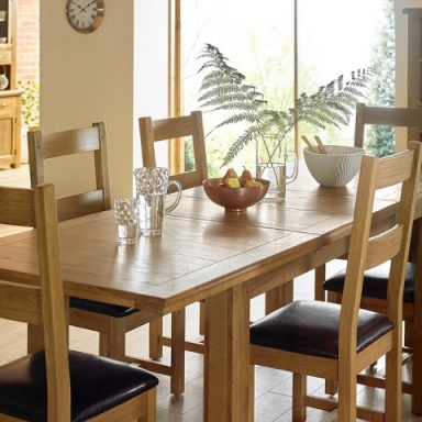 Farmhouse Oak Extending Dining Table Sets
