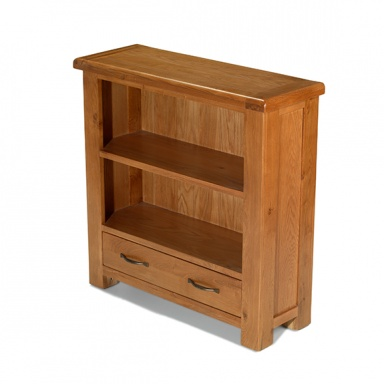 Farmhouse oak low bookcase with drawers
