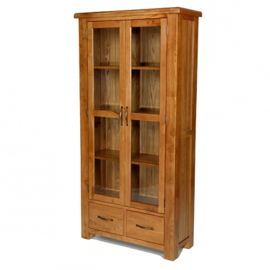 Farmhouse oak glazed display cabinet