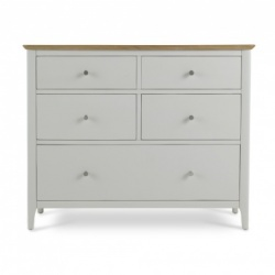 Shaker painted 5 drawer wide chest