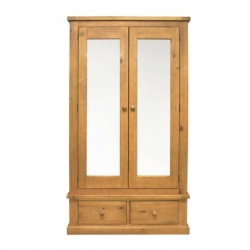 Country pine large mirror double robe