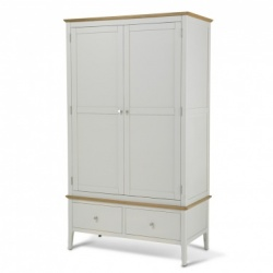 Shaker painted double robe with drawer