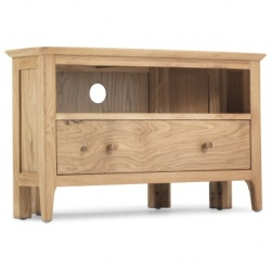 Shaker oak corner TV unit + drawer