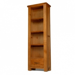 Farmhouse oak slim bookcase with drawers
