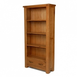 Farmhouse oak large bookcase with drawers
