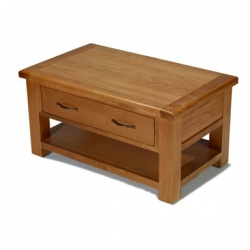 Farmhouse oak coffee table with 4 drawers