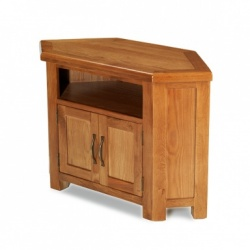 Farmhouse oak petite corner TV unit