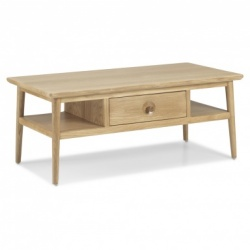 Scandi oak coffee table with drawer