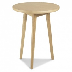 Scandi oak circular lamp table