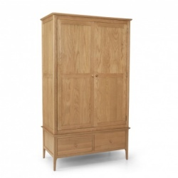 Shaker oak double robe with drawer
