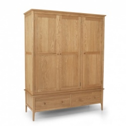 Shaker oak triple robe
