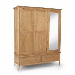Shaker oak triple robe with mirror